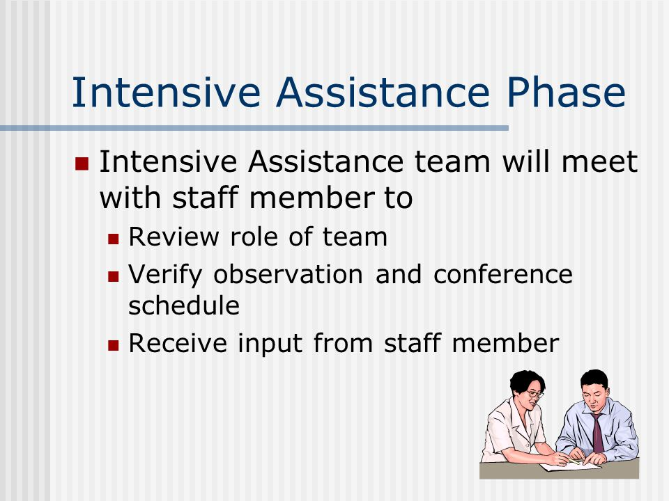 Intensive Assistance Phase Intensive Assistance team will meet with staff member to Review role of team Verify observation and conference schedule Receive input from staff member