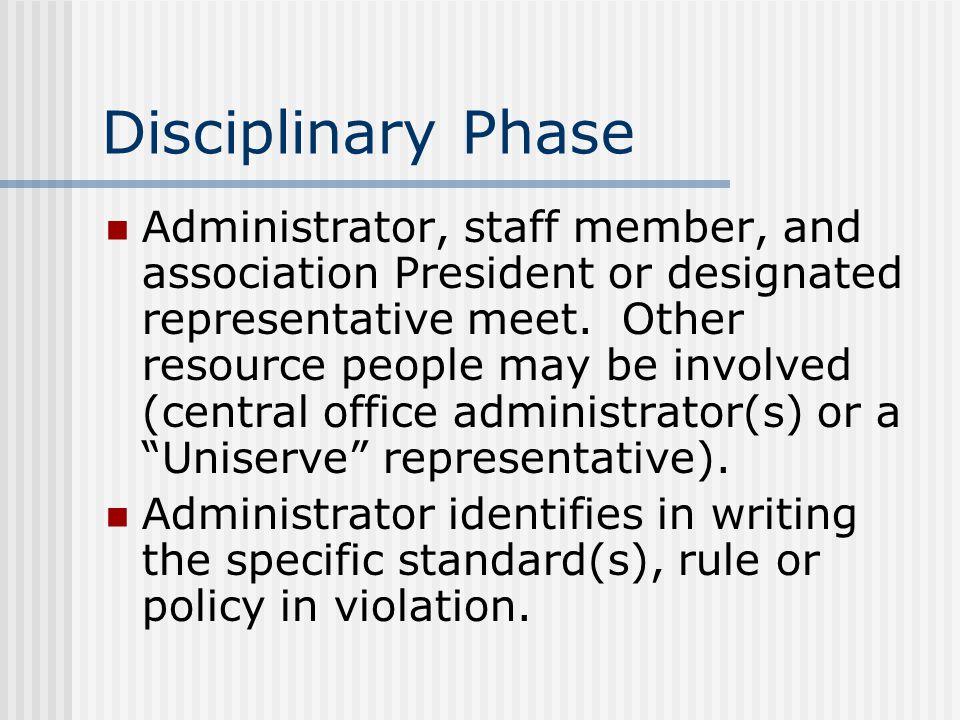Disciplinary Phase Administrator, staff member, and association President or designated representative meet.