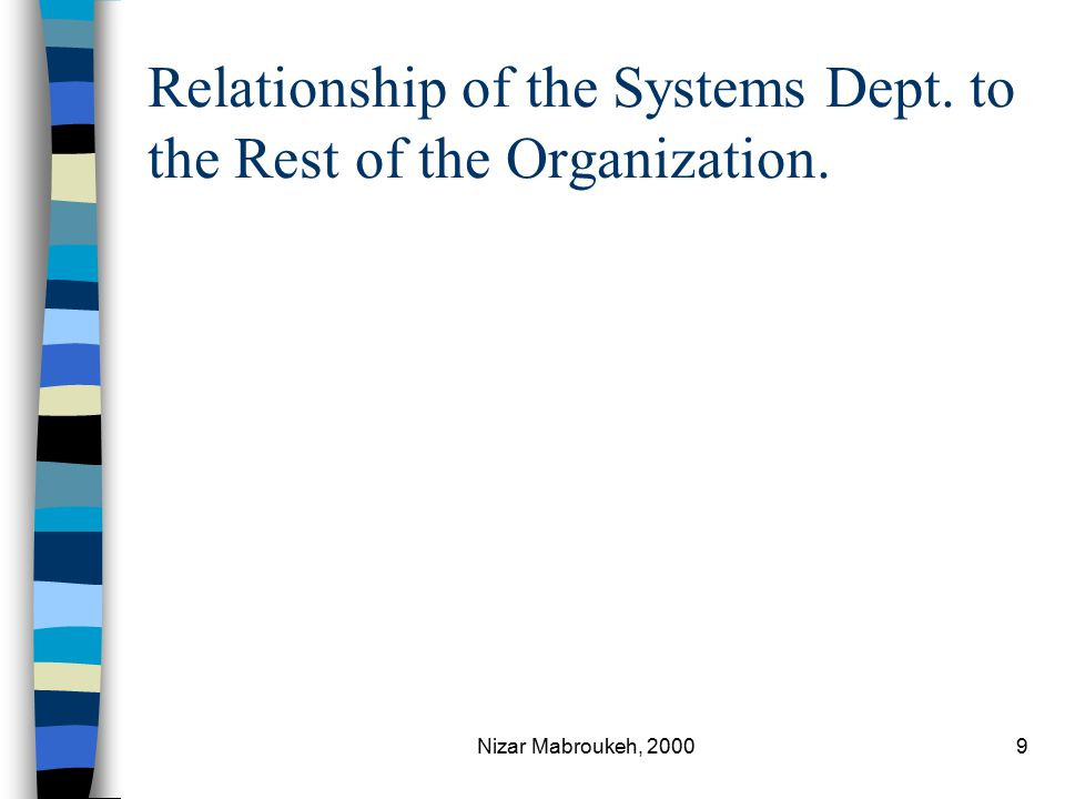 Nizar Mabroukeh, 20009 Relationship of the Systems Dept. to the Rest of the Organization.
