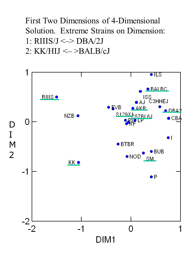 First Two Dimensions of 4-Dimensional Solution. Extreme Strains on Dimension: 1: RIIIS/J DBA/2J 2: KK/HIJ BALB/cJ DIM2DIM2