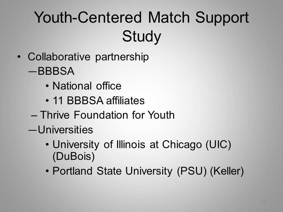 Youth-Centered Match Support Study 11 Collaborative partnership — BBBSA National office 11 BBBSA affiliates –Thrive Foundation for Youth — Universities University of Illinois at Chicago (UIC) (DuBois) Portland State University (PSU) (Keller)