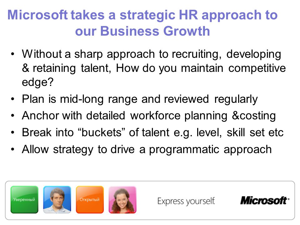 Microsoft takes a strategic HR approach to our Business Growth Without a sharp approach to recruiting, developing & retaining talent, How do you maintain competitive edge.