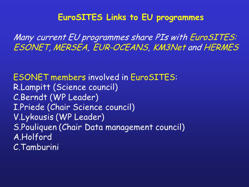 EuroSITES Links to EU programmes Many current EU programmes share PIs with EuroSITES: ESONET, MERSEA, EUR-OCEANS, KM3Net and HERMES ESONET members involved in EuroSITES: R.Lampitt (Science council) C.Berndt (WP Leader) I.Priede (Chair Science council) V.Lykousis (WP Leader) S.Pouliquen (Chair Data management council) A.Holford C.Tamburini