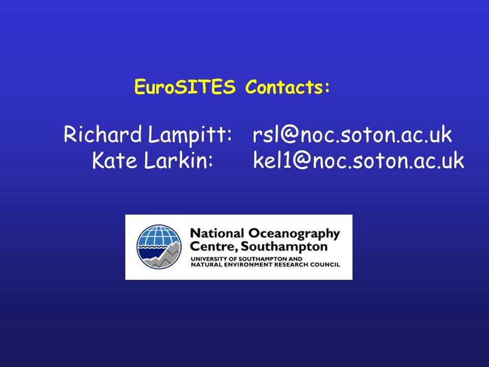 EuroSITES Contacts: Richard Lampitt: rsl@noc.soton.ac.uk Kate Larkin: kel1@noc.soton.ac.uk