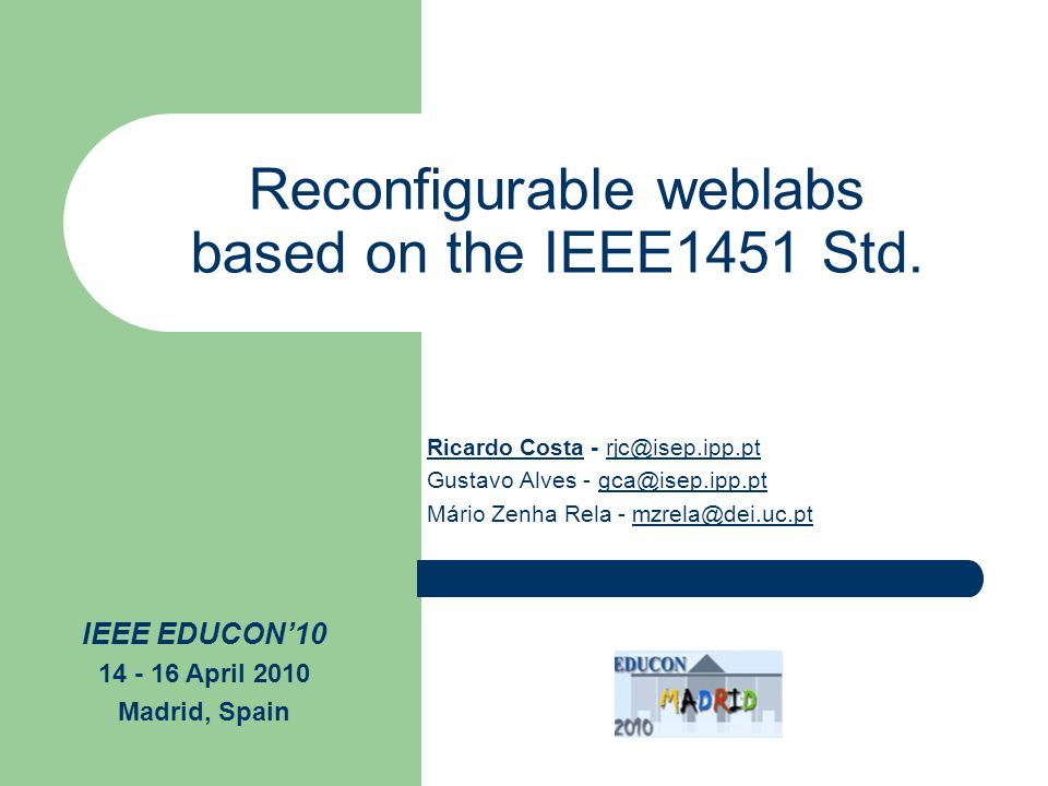 Reconfigurable weblabs based on the IEEE1451 Std.
