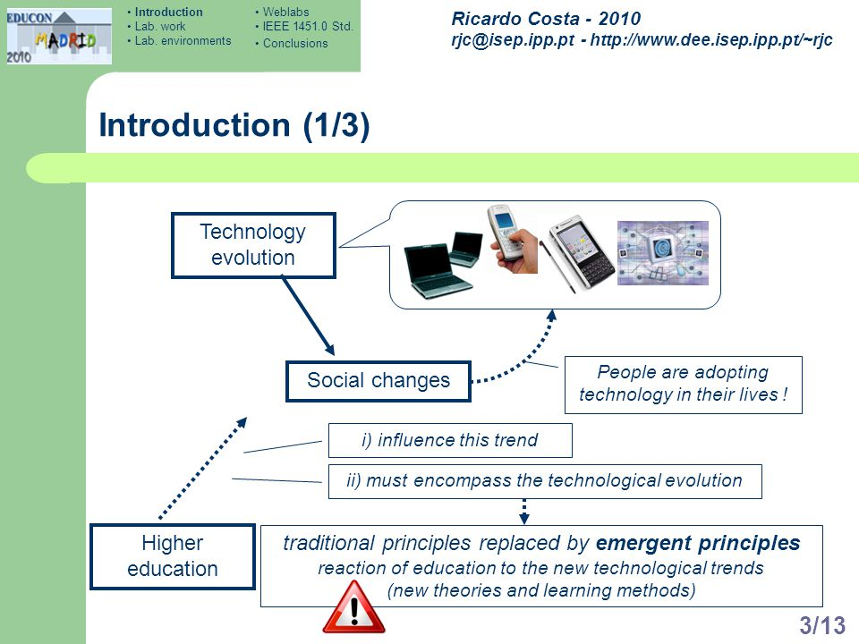 Ricardo Costa - 2010 rjc@isep.ipp.pt - http://www.dee.isep.ipp.pt/~rjc 3/13 Introduction (1/3) Technology evolution Social changes People are adopting technology in their lives .