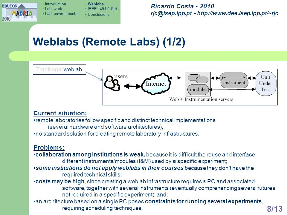 Ricardo Costa - 2010 rjc@isep.ipp.pt - http://www.dee.isep.ipp.pt/~rjc 8/13 Weblabs (Remote Labs) (1/2) Traditional weblab Current situation: remote l