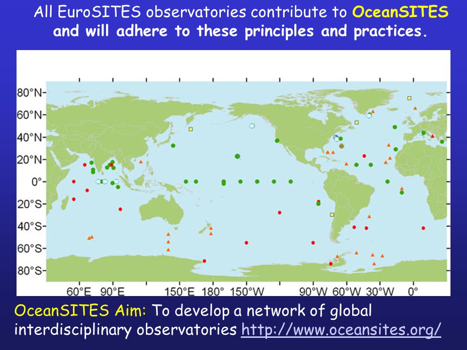 All EuroSITES observatories contribute to OceanSITES and will adhere to these principles and practices.