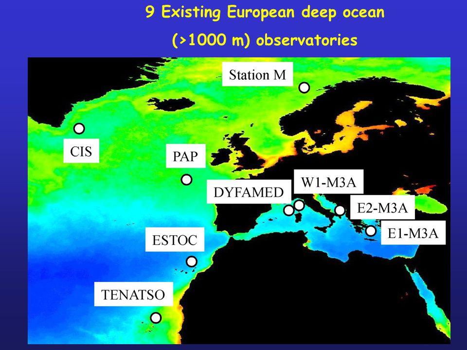 9 Existing European deep ocean (>1000 m) observatories