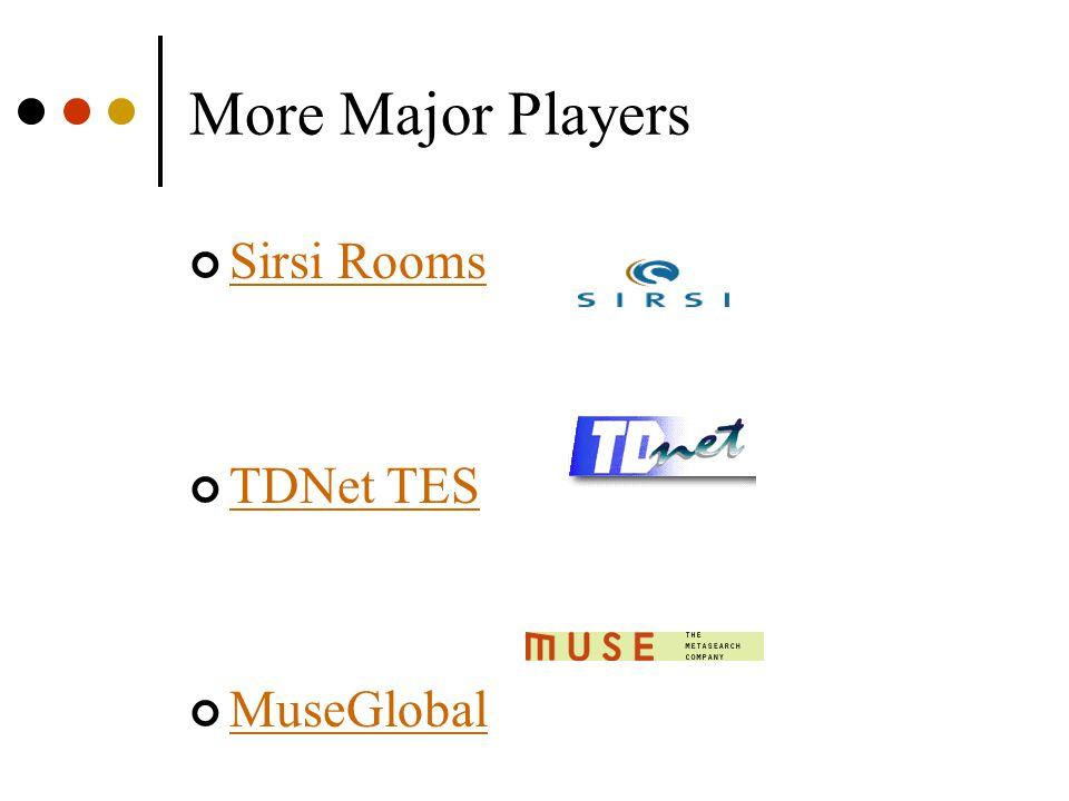 More Major Players Sirsi Rooms TDNet TES MuseGlobal