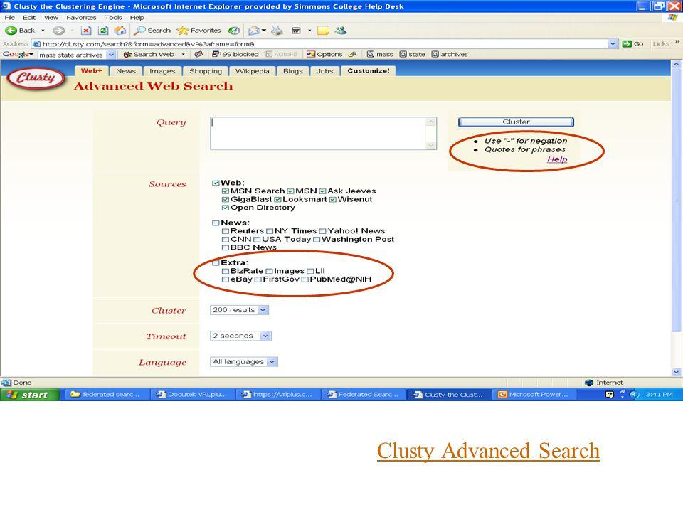 Clusty Advanced Search