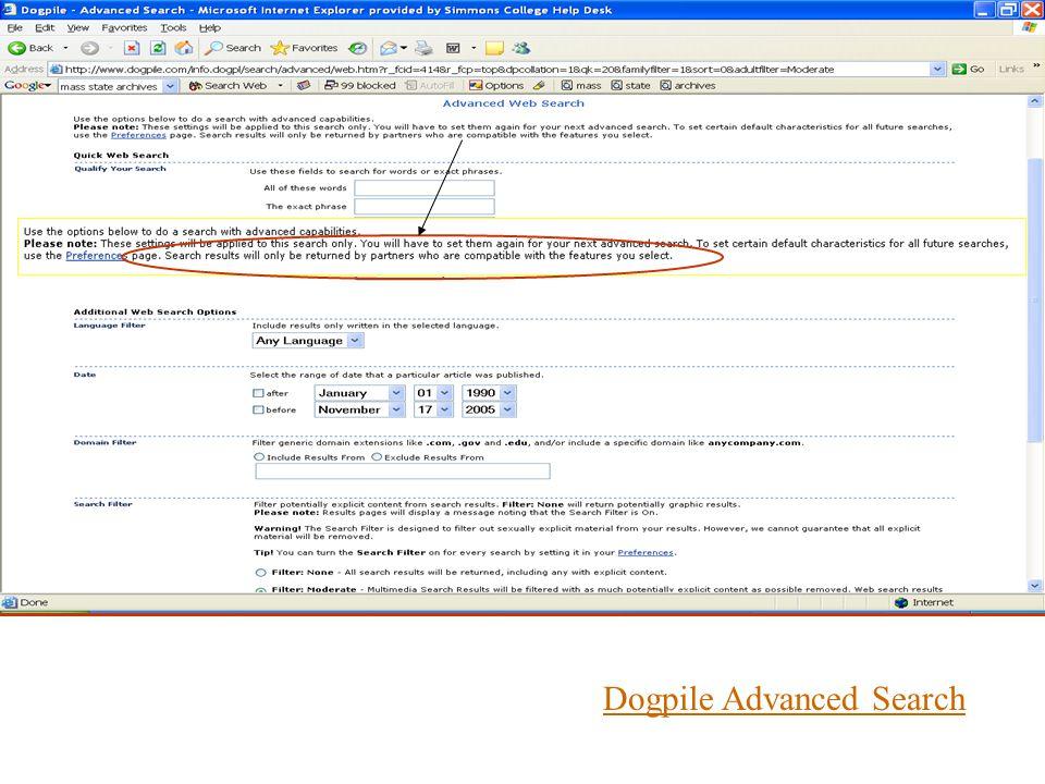Dogpile Advanced Search