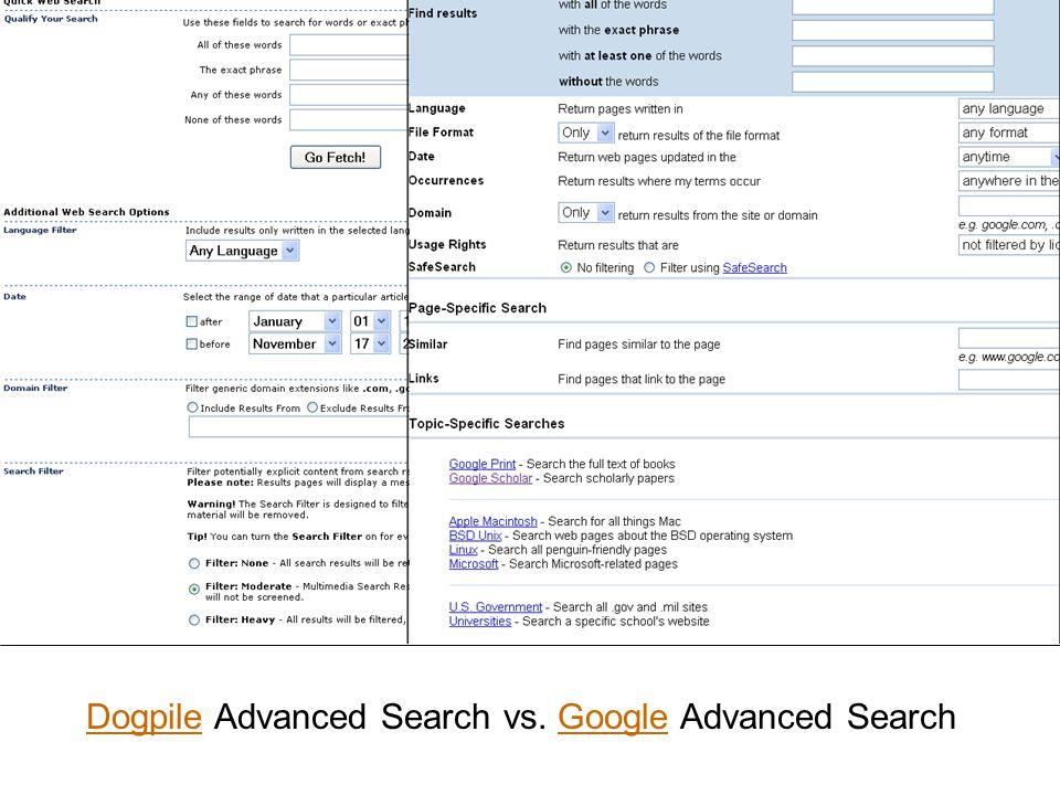 DogpileDogpile Advanced Search vs. Google Advanced SearchGoogle