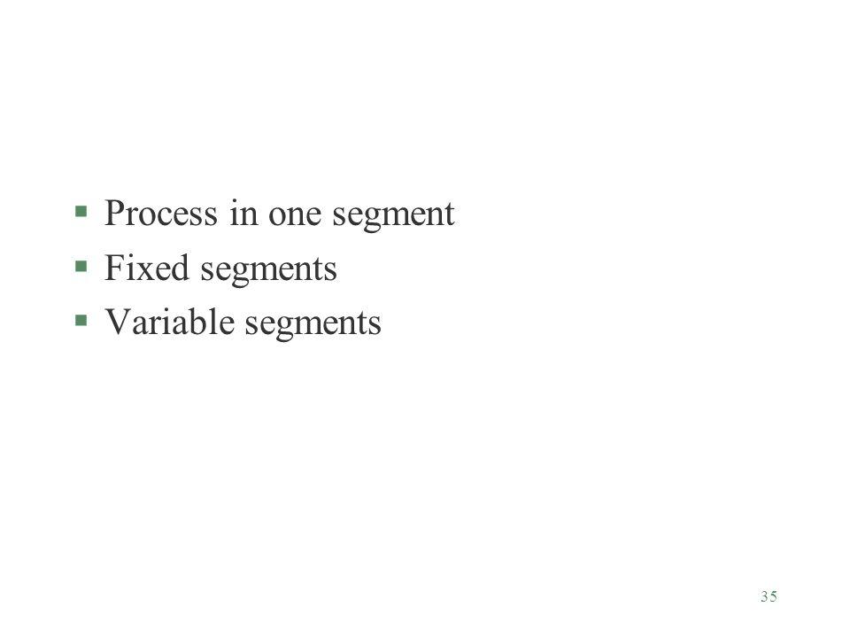 35 §Process in one segment §Fixed segments §Variable segments