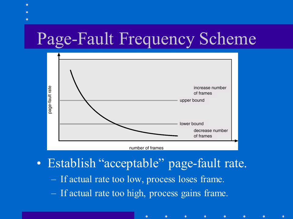 """Page-Fault Frequency Scheme Establish """"acceptable"""" page-fault rate. –If actual rate too low, process loses frame. –If actual rate too high, process ga"""