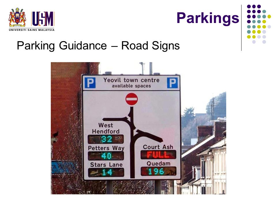 Parkings Parking Guidance – Road Signs