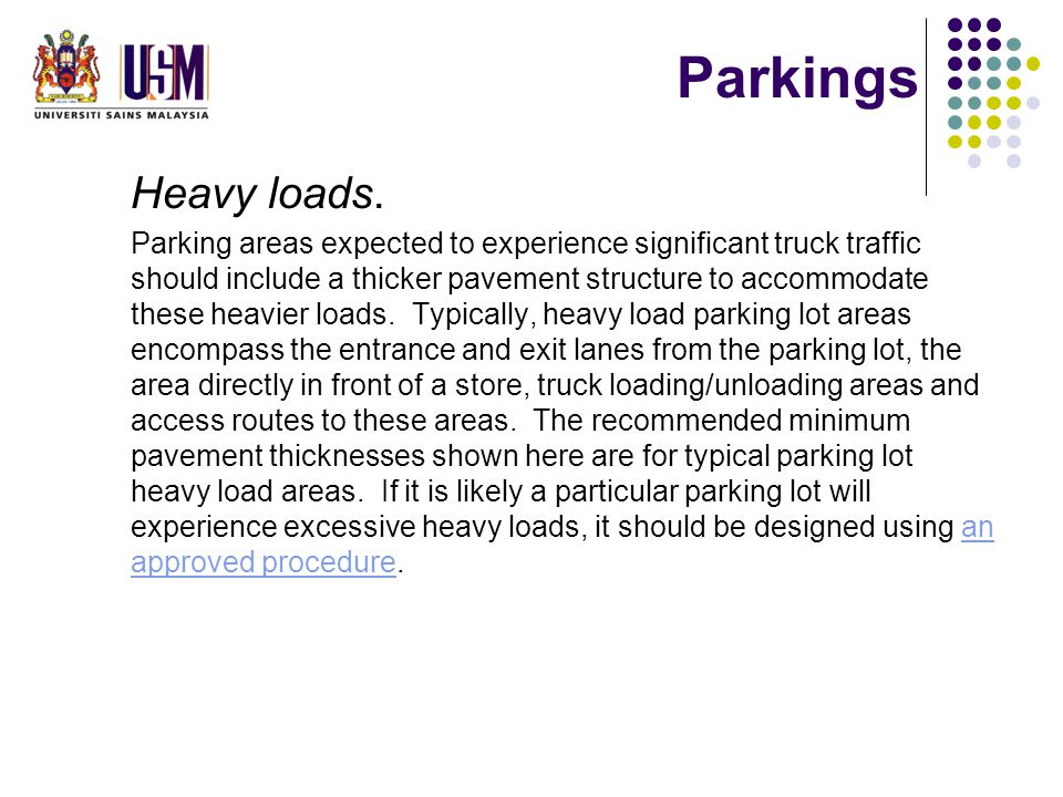 Parkings Heavy loads.