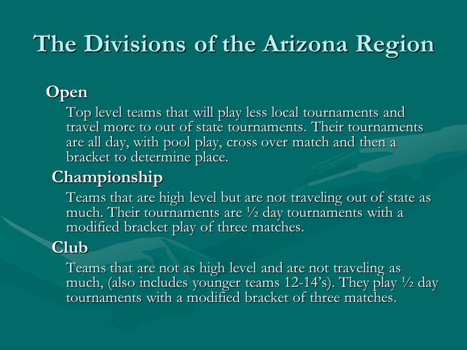The Divisions of the Arizona Region Open Top level teams that will play less local tournaments and travel more to out of state tournaments.