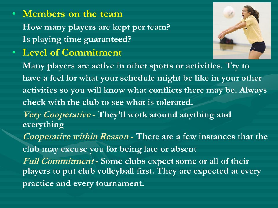 Members on the team How many players are kept per team.