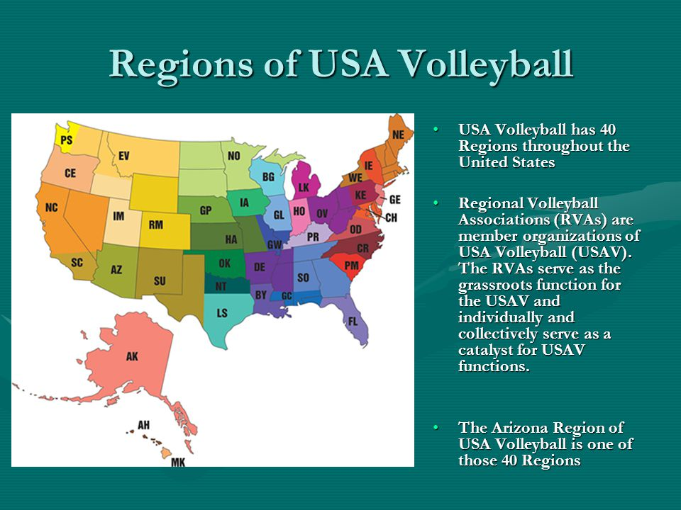 Regions of USA Volleyball USA Volleyball has 40 Regions throughout the United States Regional Volleyball Associations (RVAs) are member organizations of USA Volleyball (USAV).