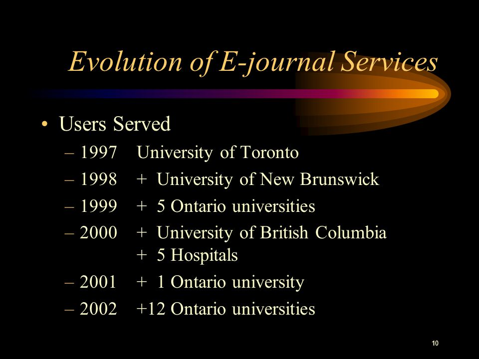 10 Evolution of E-journal Services Users Served –1997University of Toronto –1998+ University of New Brunswick –1999+ 5 Ontario universities –2000+ University of British Columbia + 5 Hospitals –2001 + 1 Ontario university –2002+12 Ontario universities