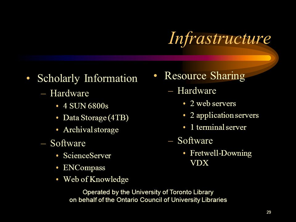 29 Infrastructure Scholarly Information –Hardware 4 SUN 6800s Data Storage (4TB) Archival storage –Software ScienceServer ENCompass Web of Knowledge Resource Sharing –Hardware 2 web servers 2 application servers 1 terminal server –Software Fretwell-Downing VDX Operated by the University of Toronto Library on behalf of the Ontario Council of University Libraries