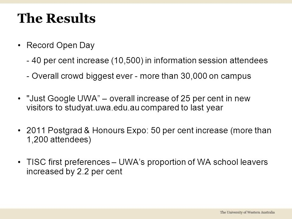 The Results Record Open Day - 40 per cent increase (10,500) in information session attendees - Overall crowd biggest ever - more than 30,000 on campus Just Google UWA – overall increase of 25 per cent in new visitors to studyat.uwa.edu.au compared to last year 2011 Postgrad & Honours Expo: 50 per cent increase (more than 1,200 attendees) TISC first preferences – UWA's proportion of WA school leavers increased by 2.2 per cent