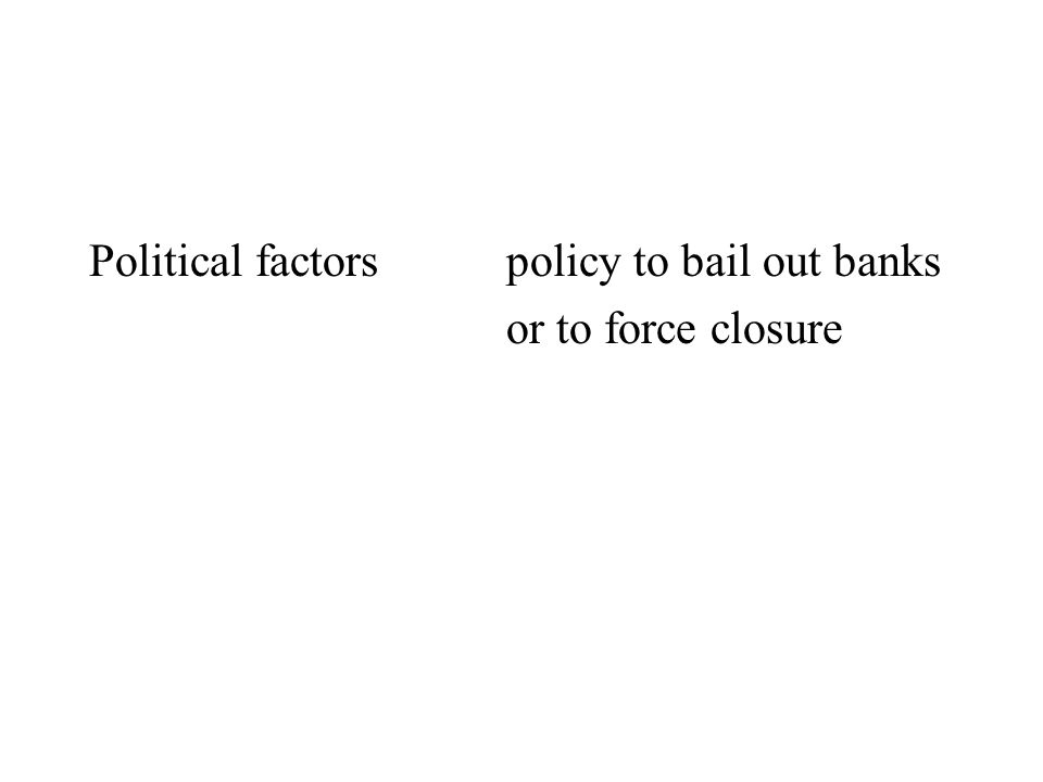 Political factorspolicy to bail out banks or to force closure