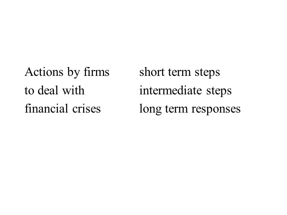 Actions by firms short term steps to deal withintermediate steps financial criseslong term responses