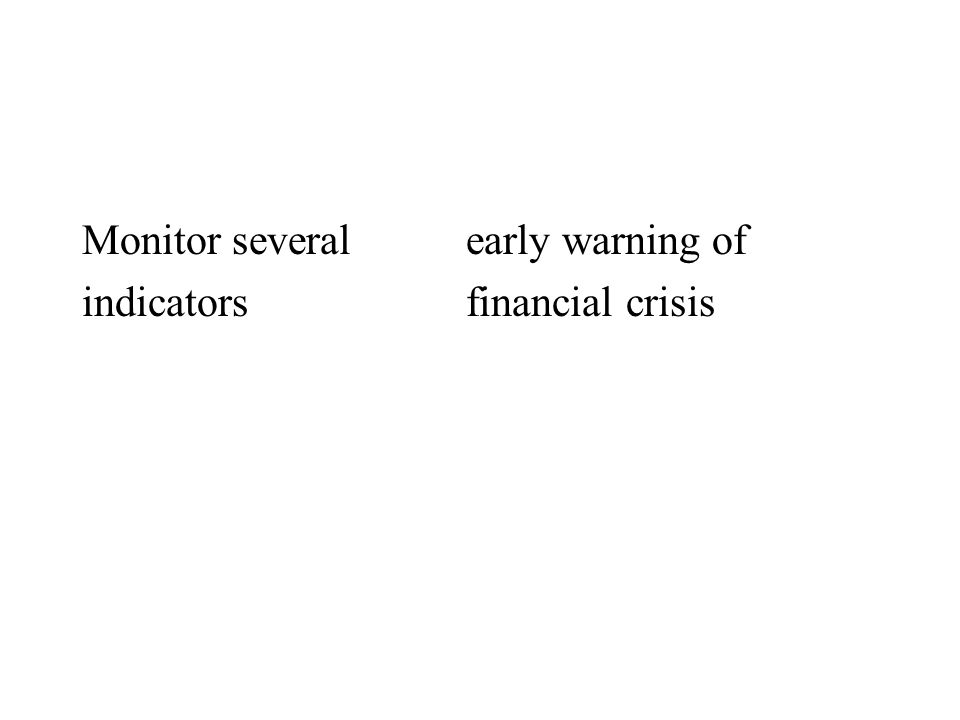 Monitor several early warning of indicatorsfinancial crisis