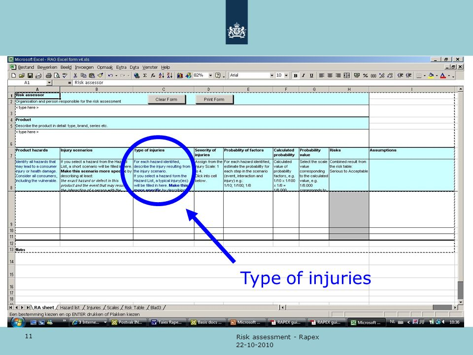 11 22-10-2010 Risk assessment - Rapex Type of injuries