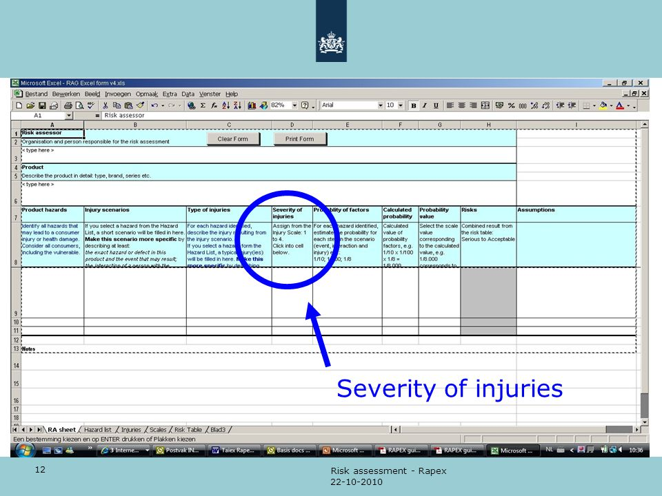 12 22-10-2010 Risk assessment - Rapex Severity of injuries