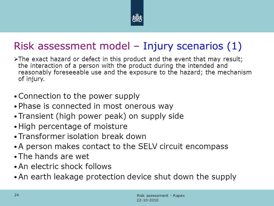 24 22-10-2010 Risk assessment - Rapex Risk assessment model – Injury scenarios (1)  The exact hazard or defect in this product and the event that may