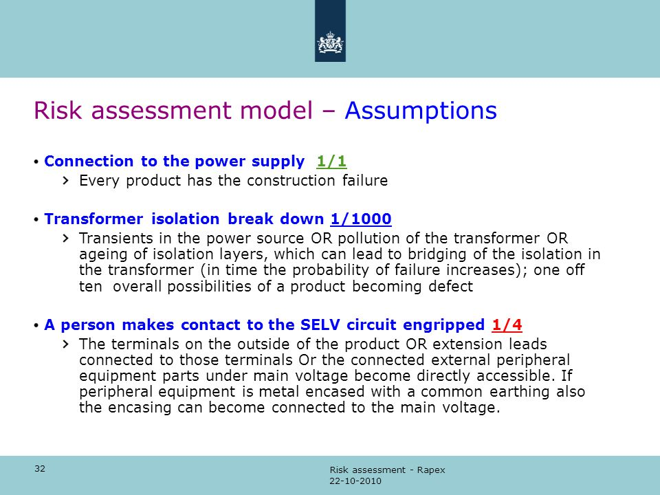 32 22-10-2010 Risk assessment - Rapex Risk assessment model – Assumptions Connection to the power supply 1/1 Every product has the construction failur
