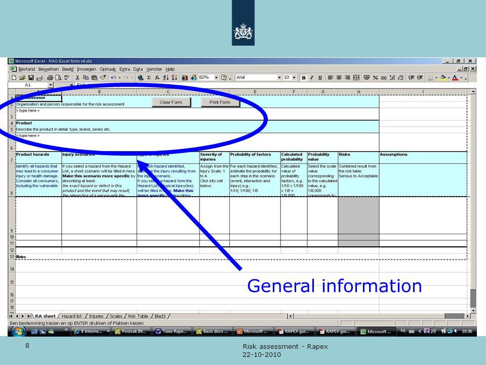 8 22-10-2010 Risk assessment - Rapex General information