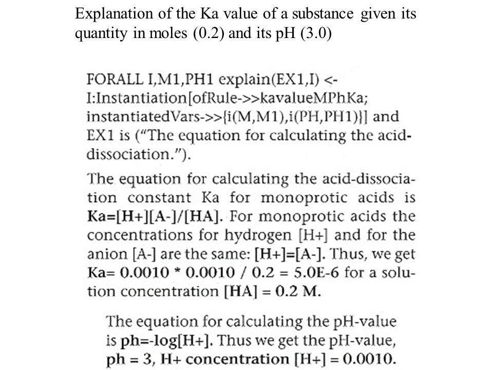 Explanation of the Ka value of a substance given its quantity in moles (0.2) and its pH (3.0)