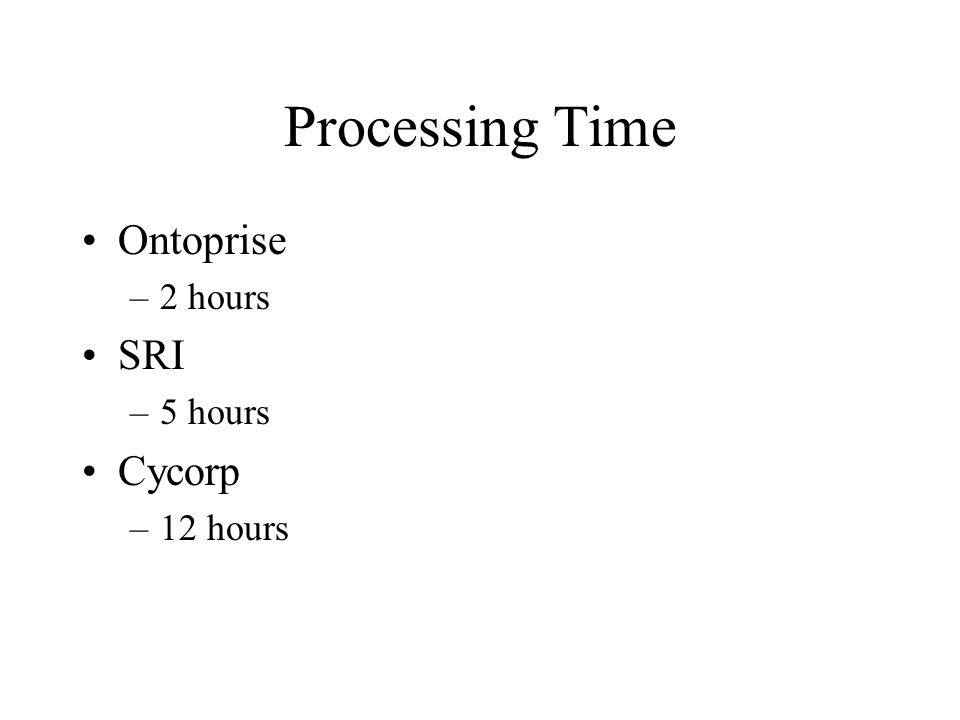Processing Time Ontoprise –2 hours SRI –5 hours Cycorp –12 hours