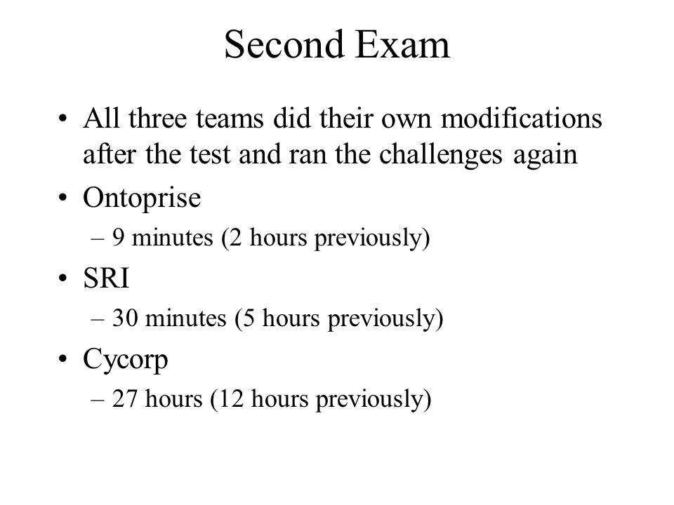 Second Exam All three teams did their own modifications after the test and ran the challenges again Ontoprise –9 minutes (2 hours previously) SRI –30 minutes (5 hours previously) Cycorp –27 hours (12 hours previously)