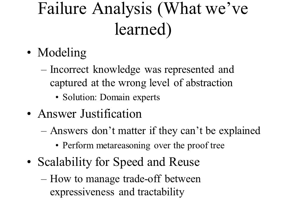 Failure Analysis (What we've learned) Modeling –Incorrect knowledge was represented and captured at the wrong level of abstraction Solution: Domain experts Answer Justification –Answers don't matter if they can't be explained Perform metareasoning over the proof tree Scalability for Speed and Reuse –How to manage trade-off between expressiveness and tractability