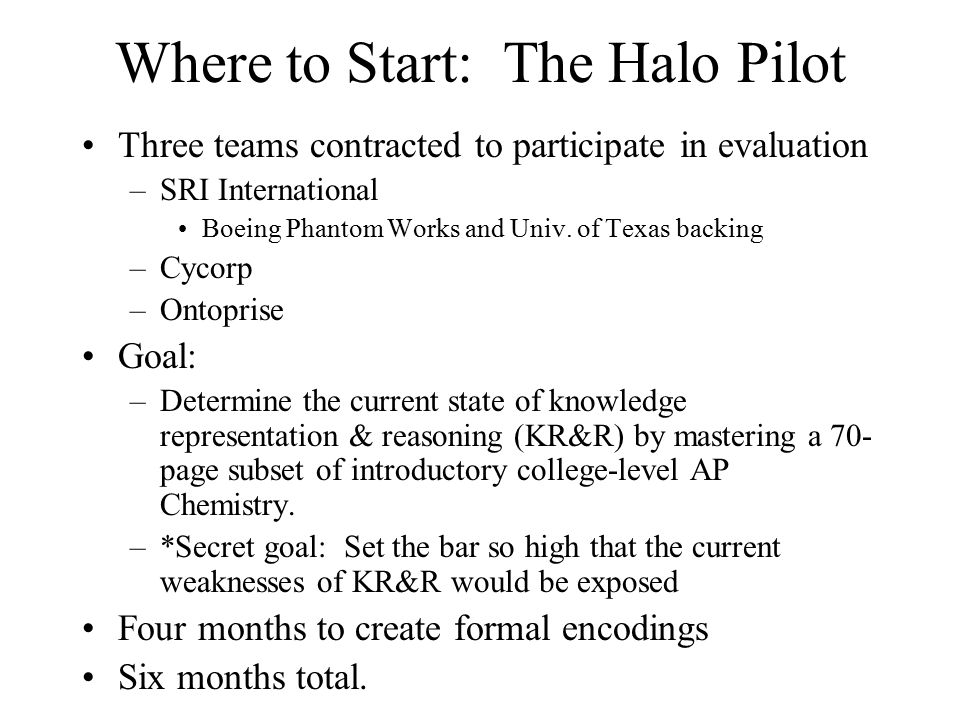 Where to Start: The Halo Pilot Three teams contracted to participate in evaluation –SRI International Boeing Phantom Works and Univ.