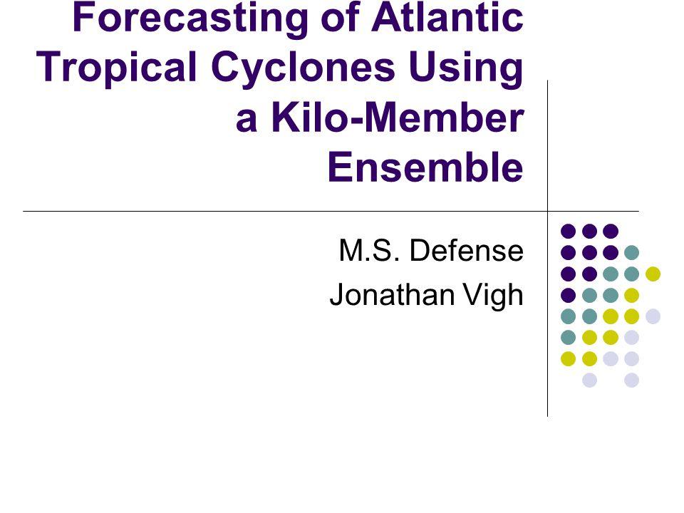 Forecasting of Atlantic Tropical Cyclones Using a Kilo-Member Ensemble M.S. Defense Jonathan Vigh