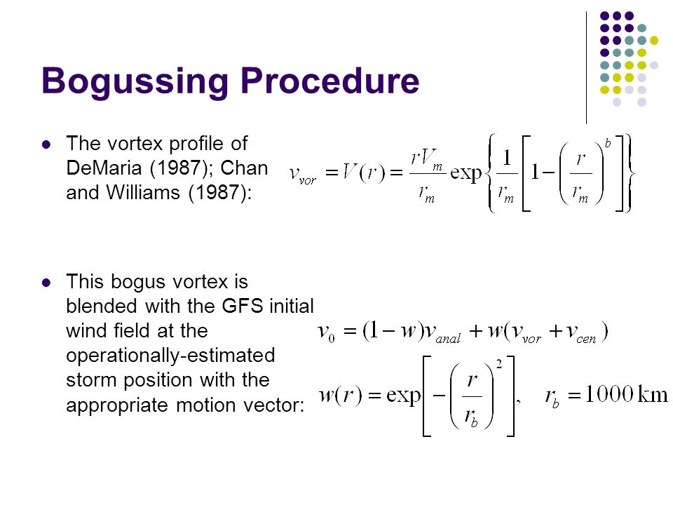 Bogussing Procedure The vortex profile of DeMaria (1987); Chan and Williams (1987): This bogus vortex is blended with the GFS initial wind field at the operationally-estimated storm position with the appropriate motion vector: