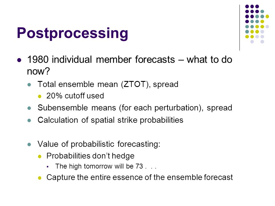 Postprocessing 1980 individual member forecasts – what to do now.