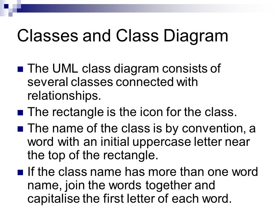The UML class diagram consists of several classes connected with relationships.