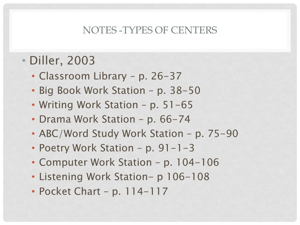 NOTES -TYPES OF CENTERS Diller, 2003 Classroom Library – p.