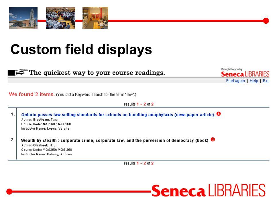 Custom field displays