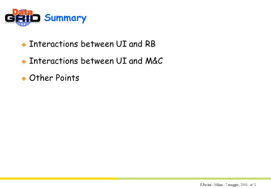 F.Pacini - Milan - 7 maggio, 2001 - n° 2 Summary u Interactions between UI and RB u Interactions between UI and M&C u Other Points
