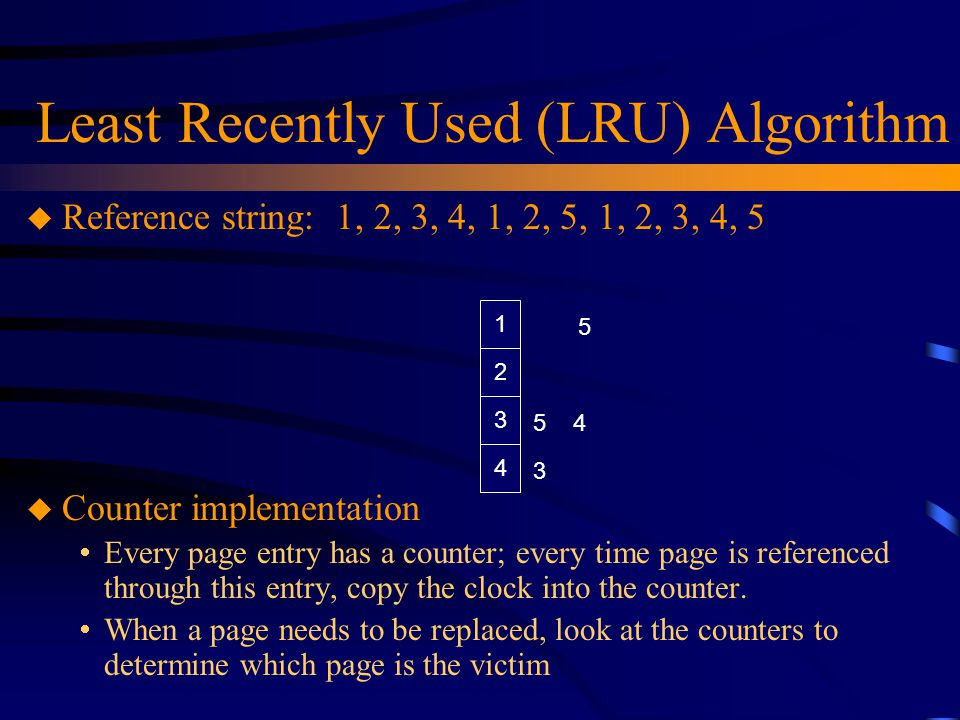 Least Recently Used (LRU) Algorithm u Reference string: 1, 2, 3, 4, 1, 2, 5, 1, 2, 3, 4, 5 u Counter implementation  Every page entry has a counter; every time page is referenced through this entry, copy the clock into the counter.