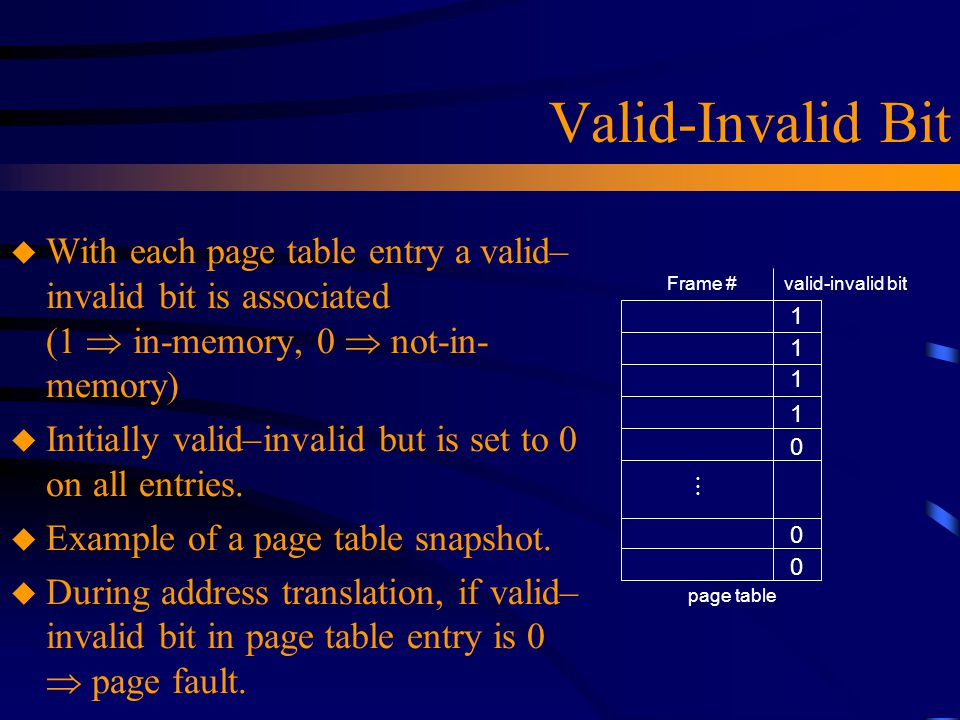 Valid-Invalid Bit u With each page table entry a valid– invalid bit is associated (1  in-memory, 0  not-in- memory) u Initially valid–invalid but is set to 0 on all entries.