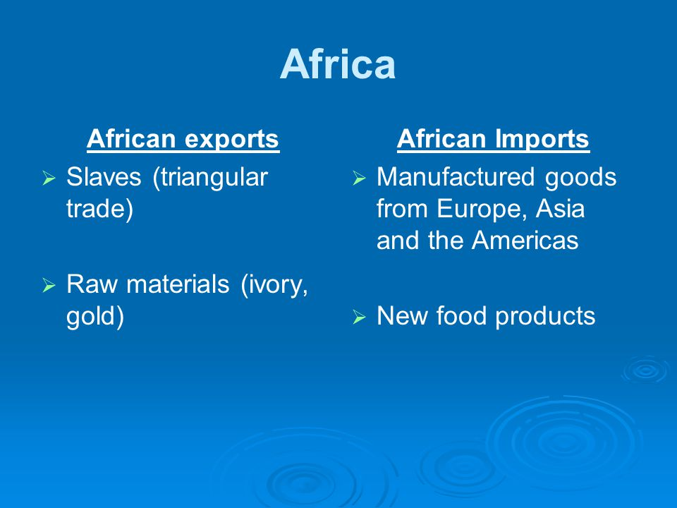 Africa African exports   Slaves (triangular trade)   Raw materials (ivory, gold) African Imports   Manufactured goods from Europe, Asia and the Americas   New food products
